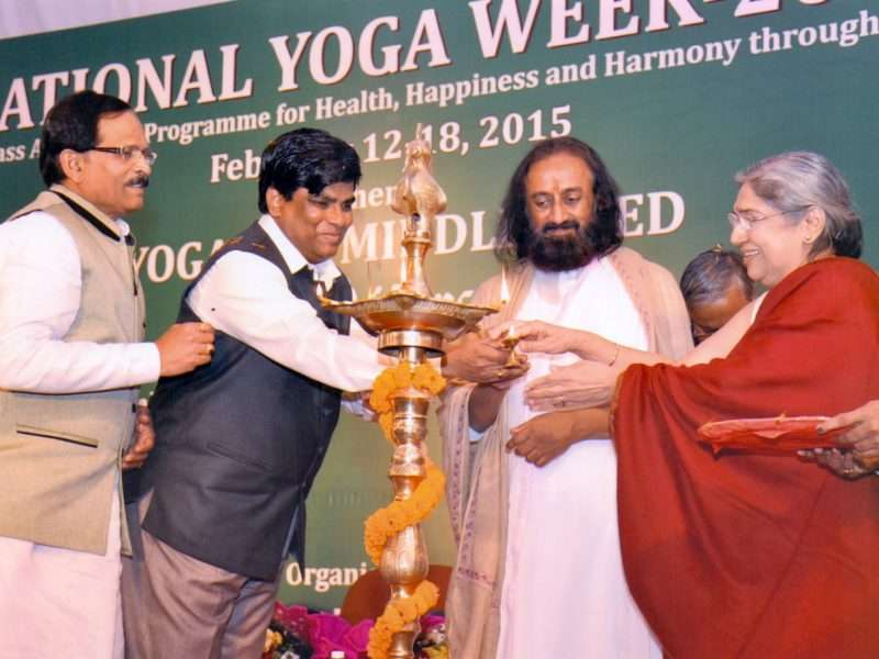 Smt. Hansaji with AYUSH Minister Sripad Naik & Sri Sri Ravishankarji at the Inaugural Event of National Yoga Week 2015 Organised by MDNIY New Delhi