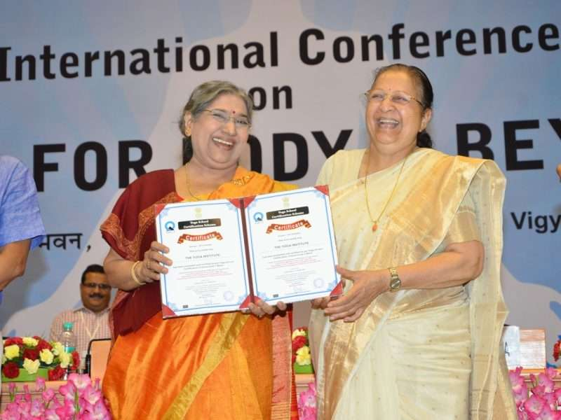 Smt. Hansaji received the award by the Honourable Speaker of Lok Sabha