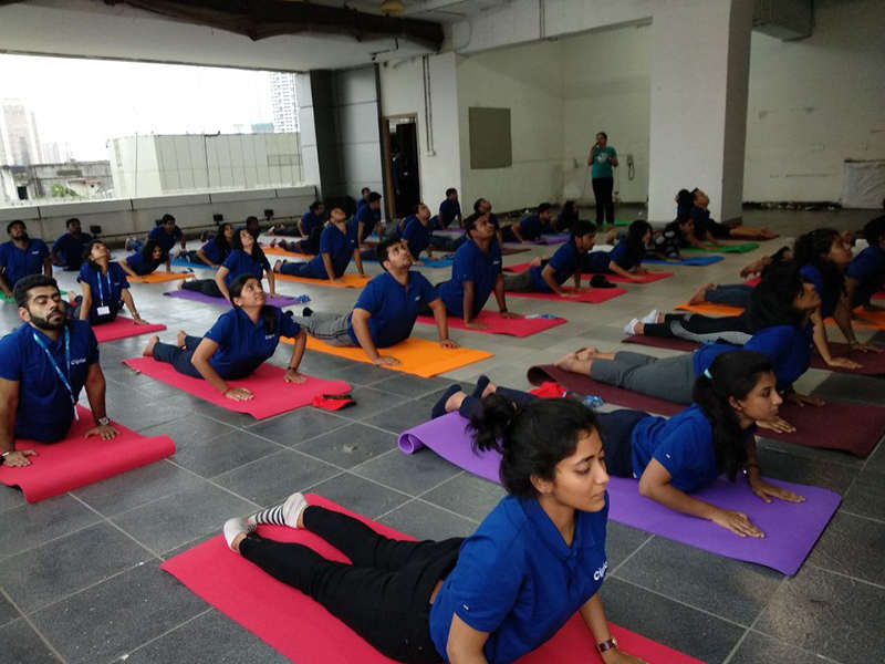 Cipla employees being solicitous while performing Bhujangasana.