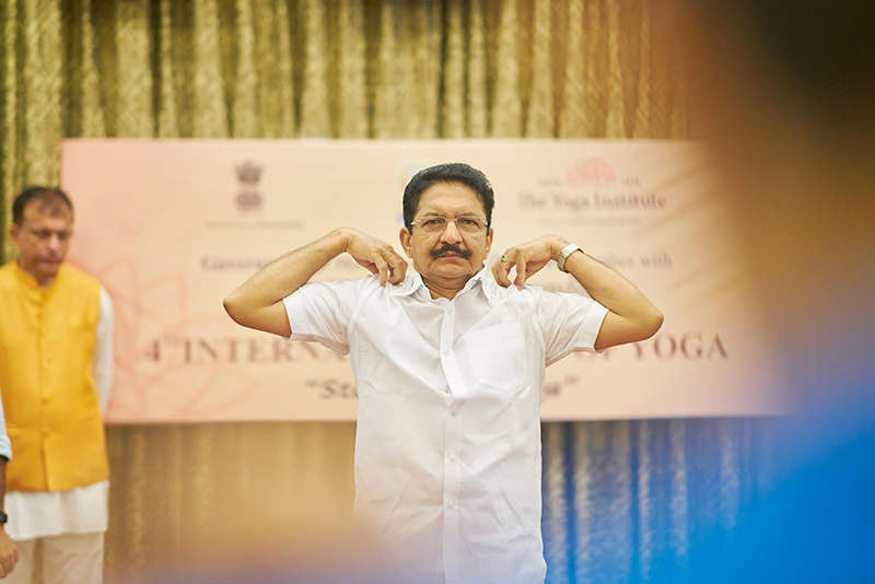 Governor of Maharashtra, C. Vidyasagar Rao practising classical Yoga with the oldest Yoga centre in the world.